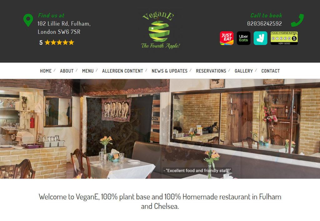 Vegane vegan restaurant  web design project
